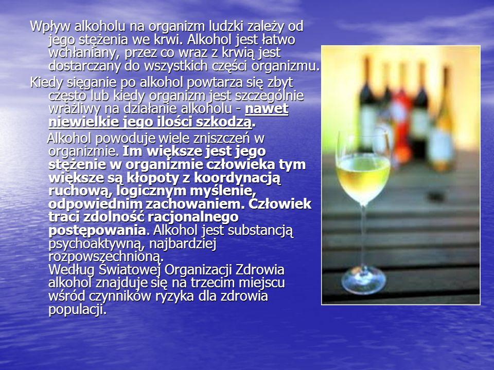 Wpływ alkoholu na organizm ludzki zależy od jego stężenia we krwi. Alkohol jest łatwo wchłaniany, przez co wraz z krwią jest dostarczany do wszystkich