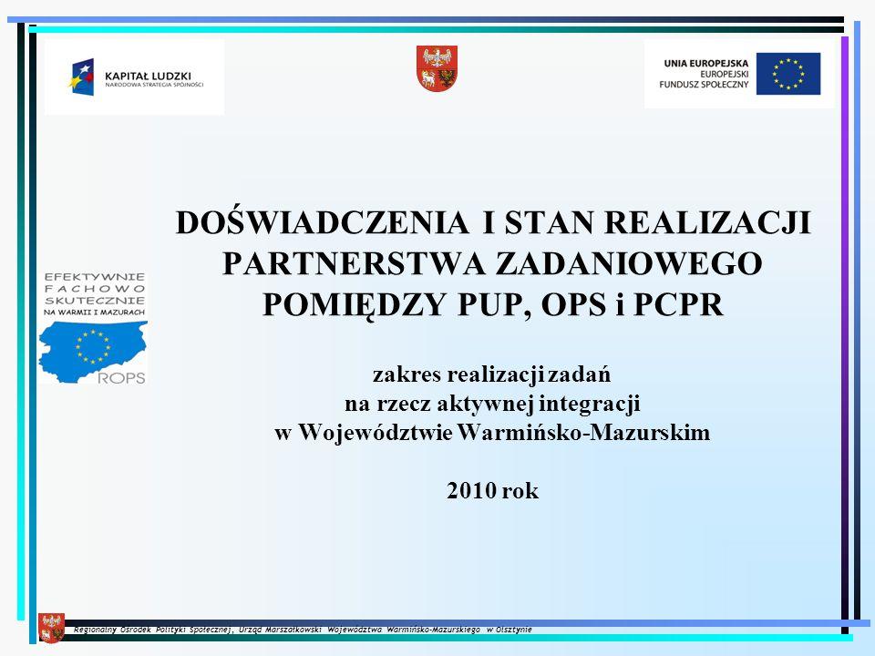 Regionalny Ośrodek Polityki Społecznej, Urząd Marszałkowski Województwa Warmińsko-Mazurskiego w Olsztynie DOŚWIADCZENIA I STAN REALIZACJI PARTNERSTWA