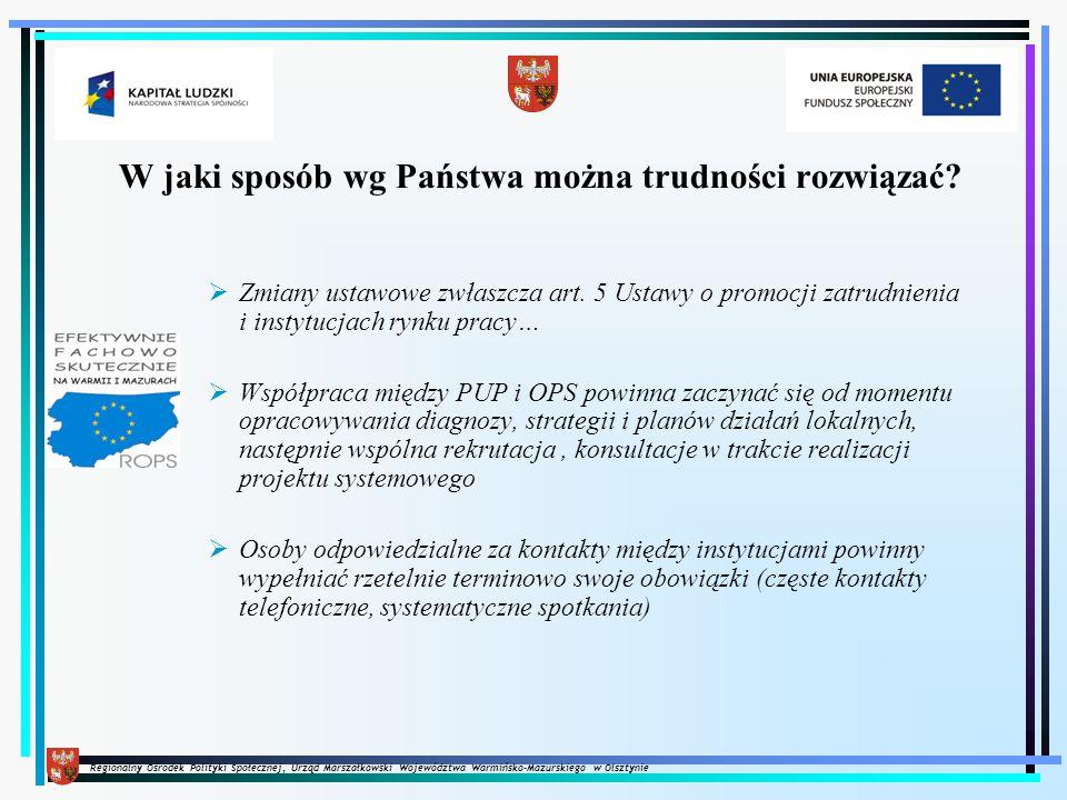Regionalny Ośrodek Polityki Społecznej, Urząd Marszałkowski Województwa Warmińsko-Mazurskiego w Olsztynie W jaki sposób wg Państwa można trudności roz