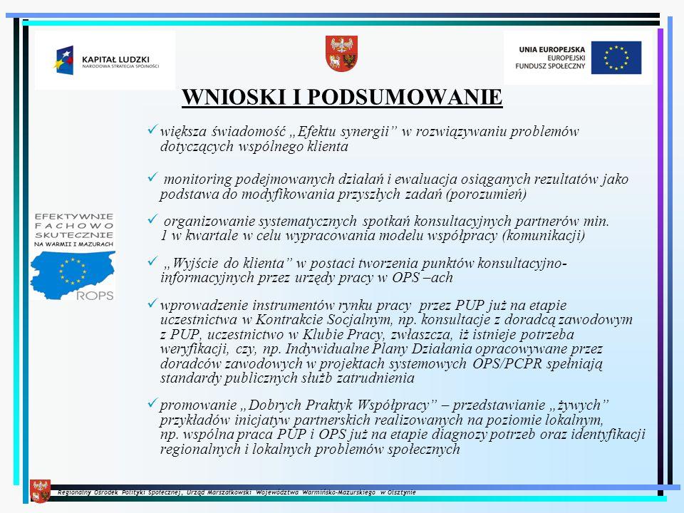 Regionalny Ośrodek Polityki Społecznej, Urząd Marszałkowski Województwa Warmińsko-Mazurskiego w Olsztynie WNIOSKI I PODSUMOWANIE większa świadomość Ef