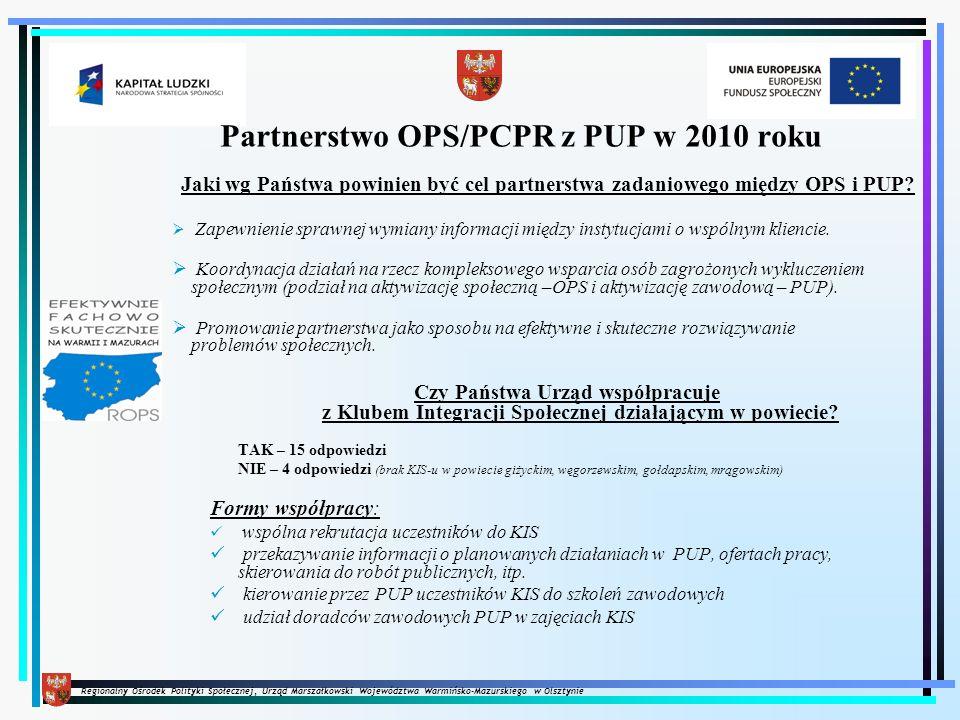 Regionalny Ośrodek Polityki Społecznej, Urząd Marszałkowski Województwa Warmińsko-Mazurskiego w Olsztynie Jaki zakres zadań został ustalony pomiędzy OPS a Państwa Urzędem Pracy.