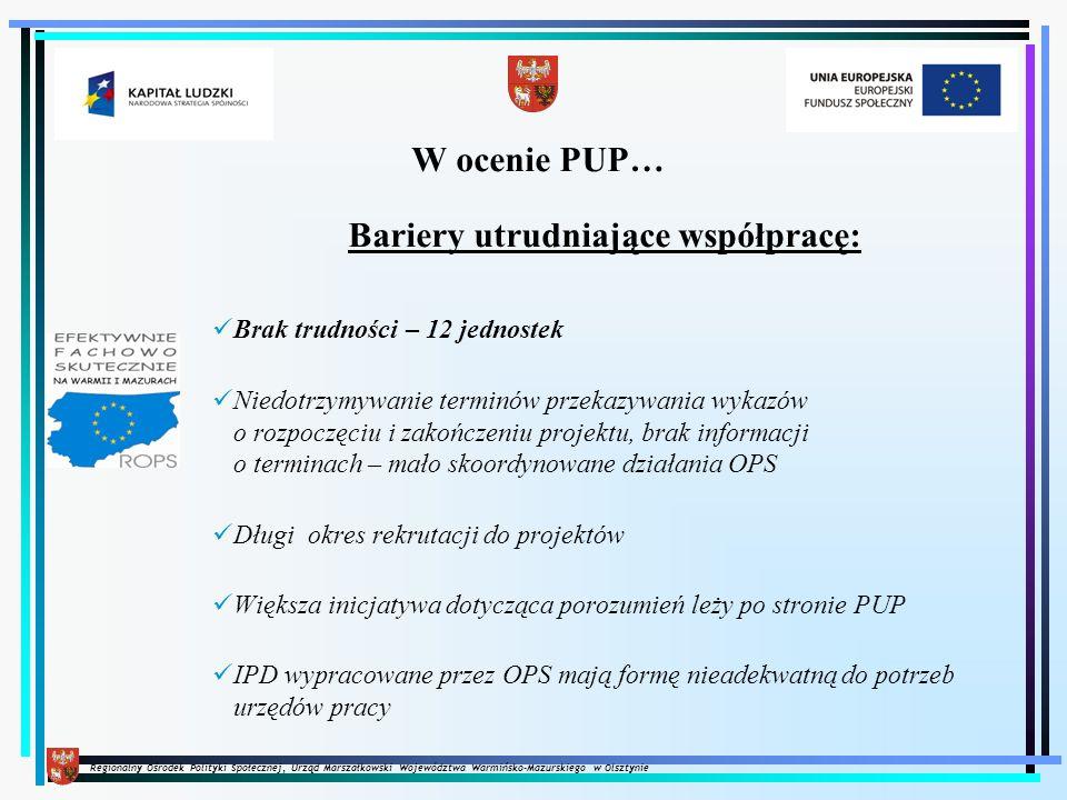 Regionalny Ośrodek Polityki Społecznej, Urząd Marszałkowski Województwa Warmińsko-Mazurskiego w Olsztynie W ocenie PUP… Bariery utrudniające współprac
