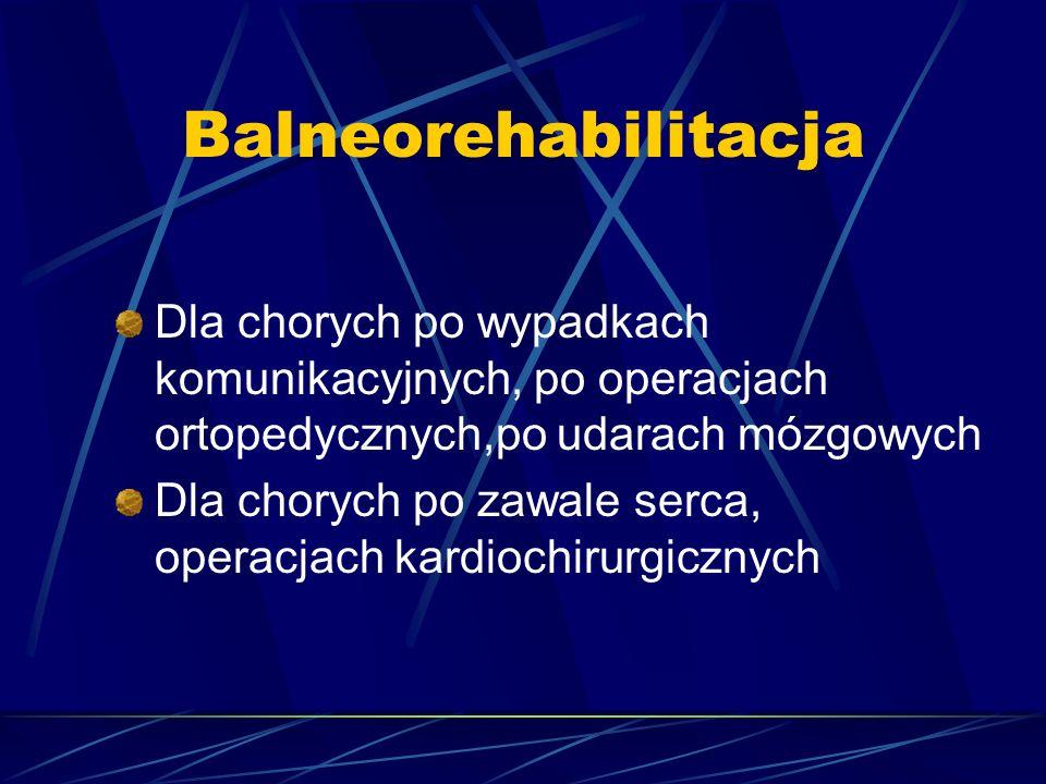 Balneorehabilitacja Dla chorych po wypadkach komunikacyjnych, po operacjach ortopedycznych,po udarach mózgowych Dla chorych po zawale serca, operacjac