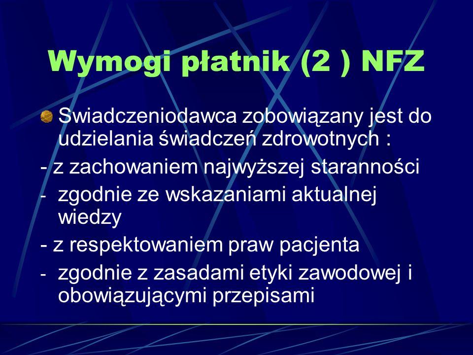 Wymogi płatnik (2 ) NFZ Swiadczeniodawca zobowiązany jest do udzielania świadczeń zdrowotnych : - z zachowaniem najwyższej staranności - zgodnie ze ws