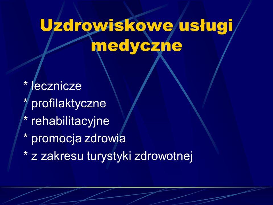 Uzdrowiskowe usługi medyczne * lecznicze * profilaktyczne * rehabilitacyjne * promocja zdrowia * z zakresu turystyki zdrowotnej