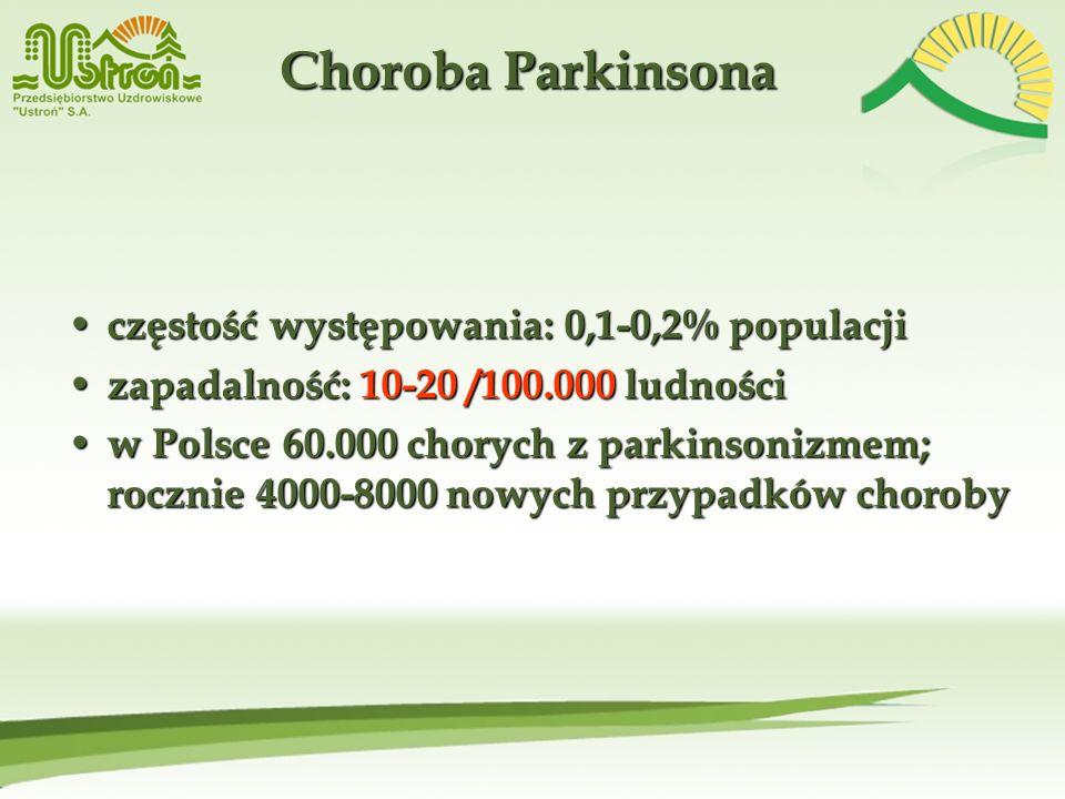 Choroba Parkinsona częstość występowania: 0,1-0,2% populacji częstość występowania: 0,1-0,2% populacji zapadalność: 10-20 /100.000 ludności zapadalnoś