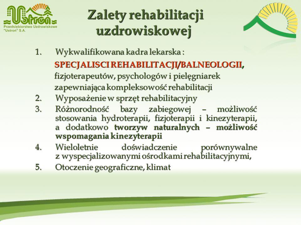 1.Wykwalifikowana kadra lekarska : SPECJALISCI REHABILITACJI/BALNEOLOGII, SPECJALISCI REHABILITACJI/BALNEOLOGII, fizjoterapeutów, psychologów i pielęg
