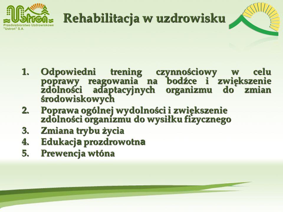 Rehabilitacja w uzdrowisku 1.Odpowiedni trening czynnościowy w celu poprawy reagowania na bodźce i zwiększenie zdolności adaptacyjnych organizmu do zm
