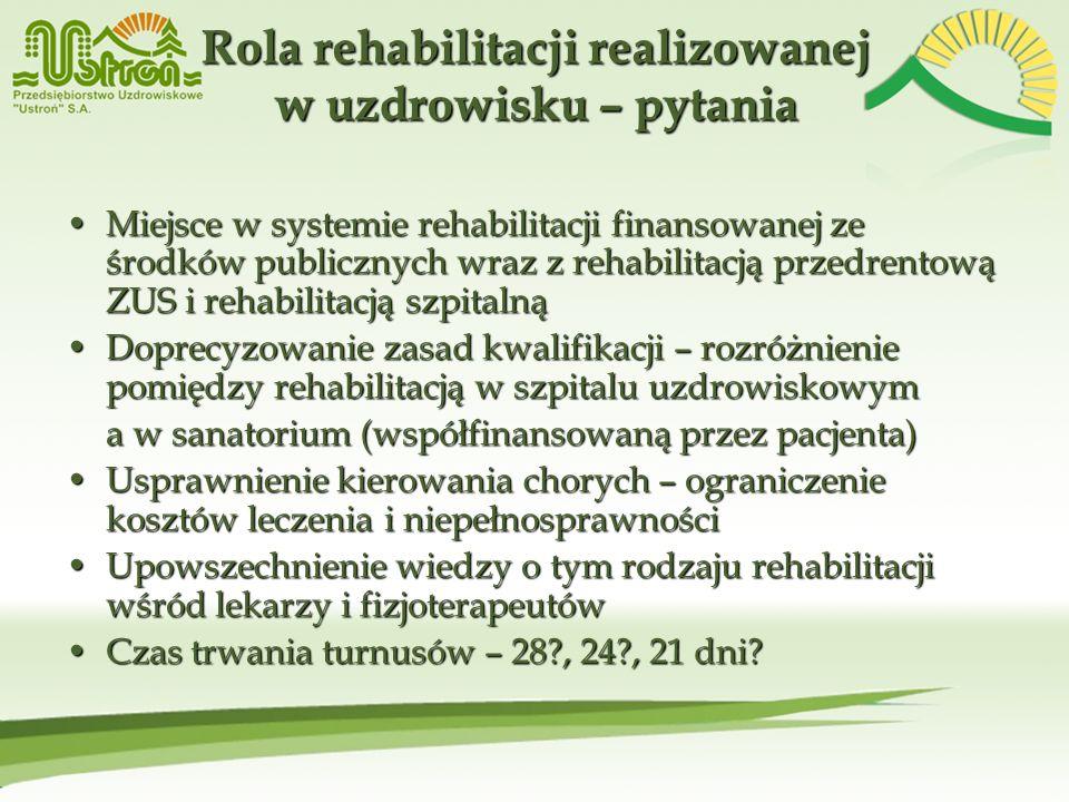 Rola rehabilitacji realizowanej w uzdrowisku – pytania Miejsce w systemie rehabilitacji finansowanej ze środków publicznych wraz z rehabilitacją przed