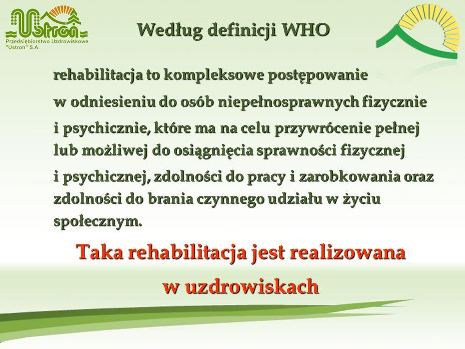 Według definicji WHO rehabilitacja to kompleksowe postępowanie w odniesieniu do osób niepełnosprawnych fizycznie i psychicznie, które ma na celu przyw