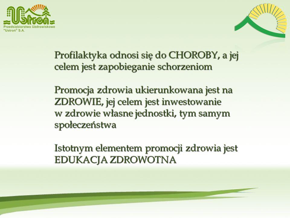 Profilaktyka odnosi się do CHOROBY, a jej celem jest zapobieganie schorzeniom Promocja zdrowia ukierunkowana jest na ZDROWIE, jej celem jest inwestowa