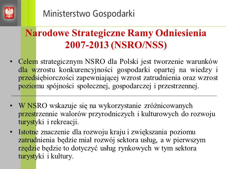 Narodowe Strategiczne Ramy Odniesienia 2007-2013 (NSRO/NSS) Celem strategicznym NSRO dla Polski jest tworzenie warunków dla wzrostu konkurencyjności g