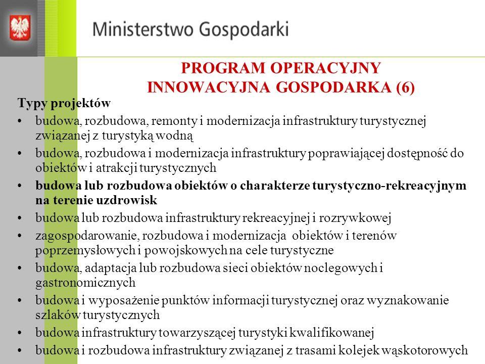 PROGRAM OPERACYJNY INNOWACYJNA GOSPODARKA (6) Typy projektów budowa, rozbudowa, remonty i modernizacja infrastruktury turystycznej związanej z turysty