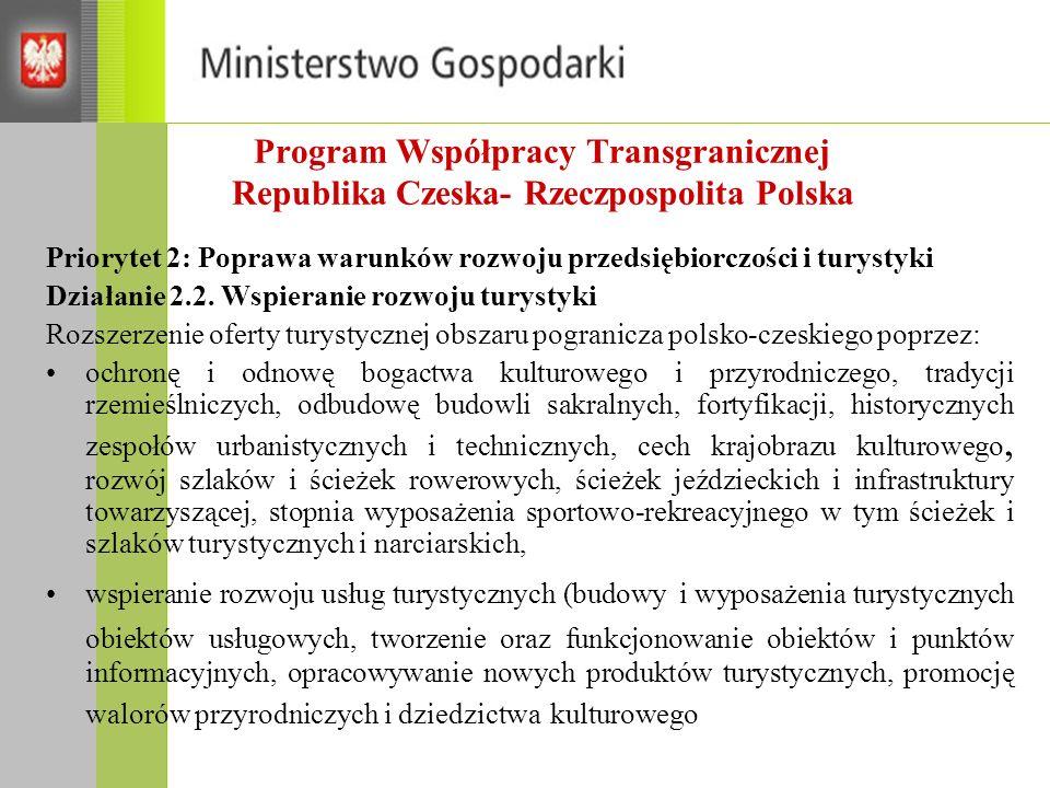 Program Współpracy Transgranicznej Republika Czeska- Rzeczpospolita Polska Priorytet 2: Poprawa warunków rozwoju przedsiębiorczości i turystyki Działa