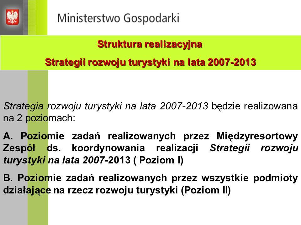 Strategia rozwoju turystyki na lata 2007-2013 będzie realizowana na 2 poziomach: A. Poziomie zadań realizowanych przez Międzyresortowy Zespół ds. koor