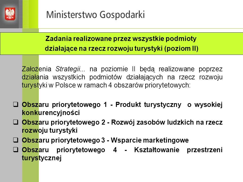 Założenia Strategii... na poziomie II będą realizowane poprzez działania wszystkich podmiotów działających na rzecz rozwoju turystyki w Polsce w ramac