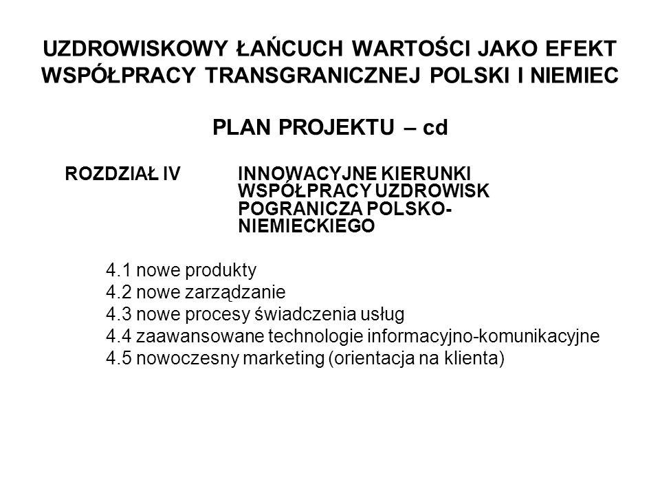 UZDROWISKOWY ŁAŃCUCH WARTOŚCI JAKO EFEKT WSPÓŁPRACY TRANSGRANICZNEJ POLSKI I NIEMIEC PLAN PROJEKTU – cd ROZDZIAŁ IVINNOWACYJNE KIERUNKI WSPÓŁPRACY UZDROWISK POGRANICZA POLSKO- NIEMIECKIEGO 4.1 nowe produkty 4.2 nowe zarządzanie 4.3 nowe procesy świadczenia usług 4.4 zaawansowane technologie informacyjno-komunikacyjne 4.5 nowoczesny marketing (orientacja na klienta)