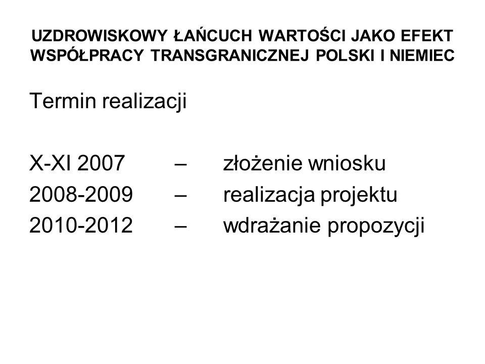 UZDROWISKOWY ŁAŃCUCH WARTOŚCI JAKO EFEKT WSPÓŁPRACY TRANSGRANICZNEJ POLSKI I NIEMIEC Termin realizacji X-XI 2007 – złożenie wniosku 2008-2009 – realizacja projektu 2010-2012 – wdrażanie propozycji