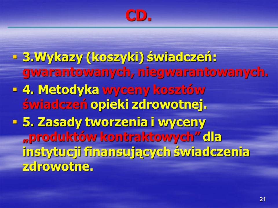 21 CD. 3.Wykazy (koszyki) świadczeń: gwarantowanych, niegwarantowanych. 3.Wykazy (koszyki) świadczeń: gwarantowanych, niegwarantowanych. 4. Metodyka w