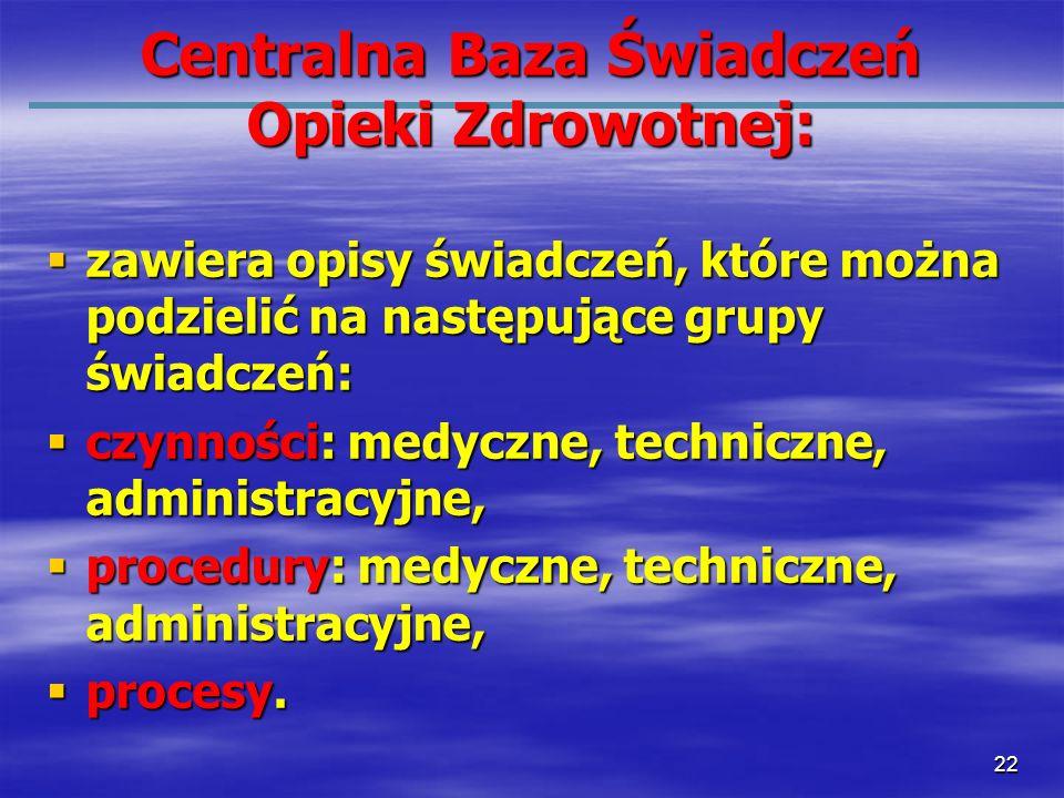 22 Centralna Baza Świadczeń Opieki Zdrowotnej: zawiera opisy świadczeń, które można podzielić na następujące grupy świadczeń: zawiera opisy świadczeń,