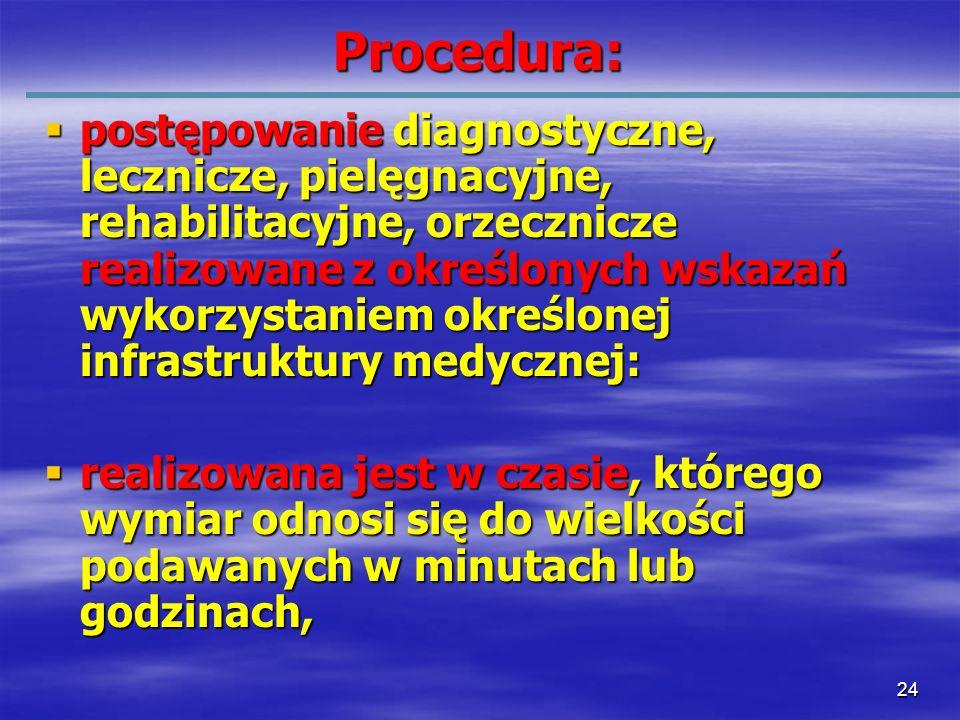 24 Procedura: postępowanie diagnostyczne, lecznicze, pielęgnacyjne, rehabilitacyjne, orzecznicze realizowane z określonych wskazań wykorzystaniem okre
