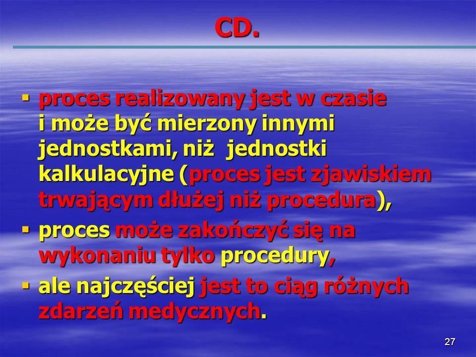 27 CD. proces realizowany jest w czasie i może być mierzony innymi jednostkami, niż jednostki kalkulacyjne (proces jest zjawiskiem trwającym dłużej ni
