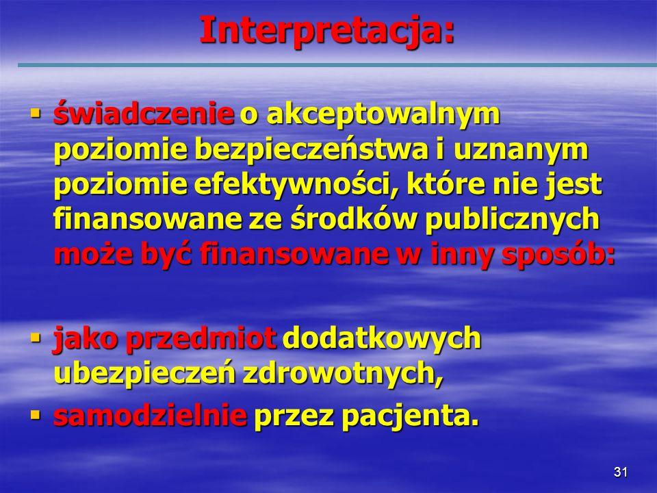31Interpretacja: świadczenie o akceptowalnym poziomie bezpieczeństwa i uznanym poziomie efektywności, które nie jest finansowane ze środków publicznyc