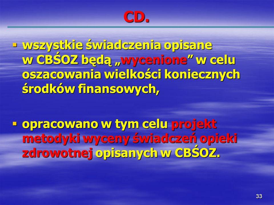 33 CD. wszystkie świadczenia opisane w CBŚOZ będą wycenione w celu oszacowania wielkości koniecznych środków finansowych, wszystkie świadczenia opisan