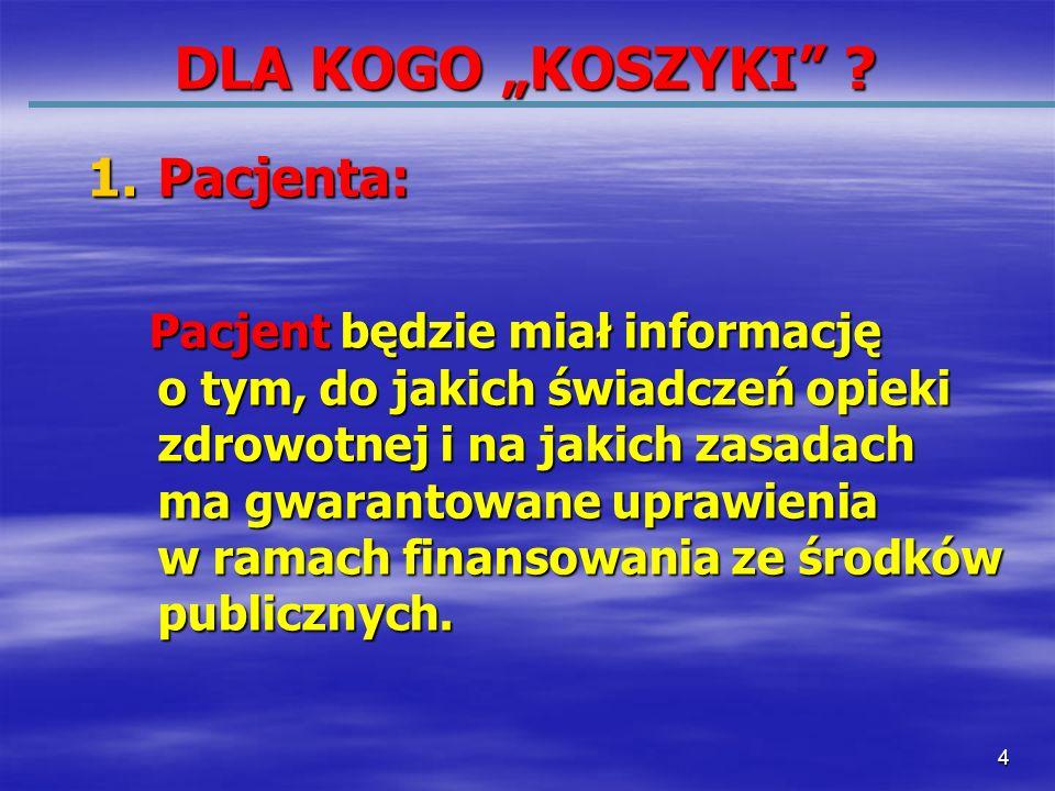 45 Modernizacja systemu opieki zdrowotnej Polska Klasyfikacja Procedur Medycznych SystemKoszykówświadczeńopiekizdrowotnej CBŚOZ Transpare - ntność kryteriów Dodatkowe ubezpiecze - nia zdrowotne Jednolita metodyka liczenia kosztów świadczeń Kierunek w którym zmierzamy: