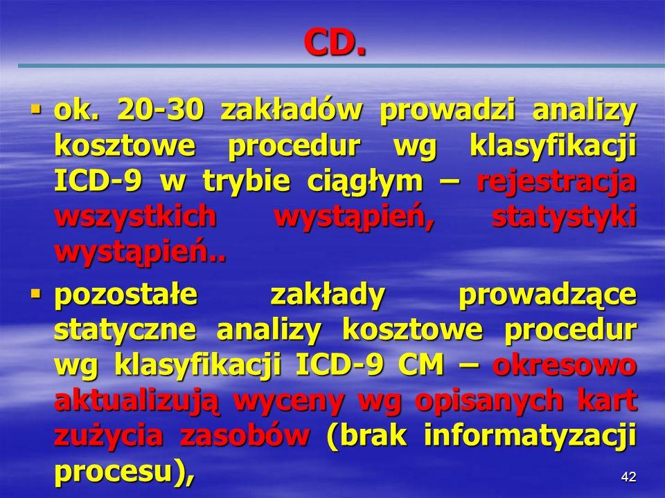 42 CD. ok. 20-30 zakładów prowadzi analizy kosztowe procedur wg klasyfikacji ICD-9 w trybie ciągłym – rejestracja wszystkich wystąpień, statystyki wys