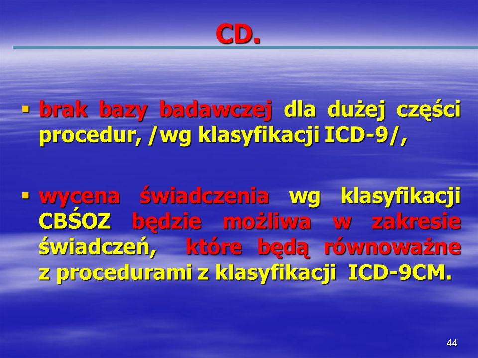 44 CD. brak bazy badawczej dla dużej części procedur, /wg klasyfikacji ICD-9/, brak bazy badawczej dla dużej części procedur, /wg klasyfikacji ICD-9/,