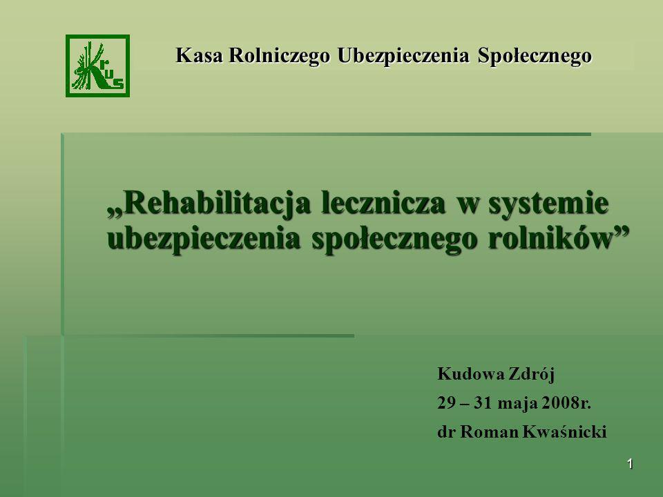 1 Rehabilitacja lecznicza w systemie ubezpieczenia społecznego rolników Kasa Rolniczego Ubezpieczenia Społecznego Kudowa Zdrój 29 – 31 maja 2008r. dr