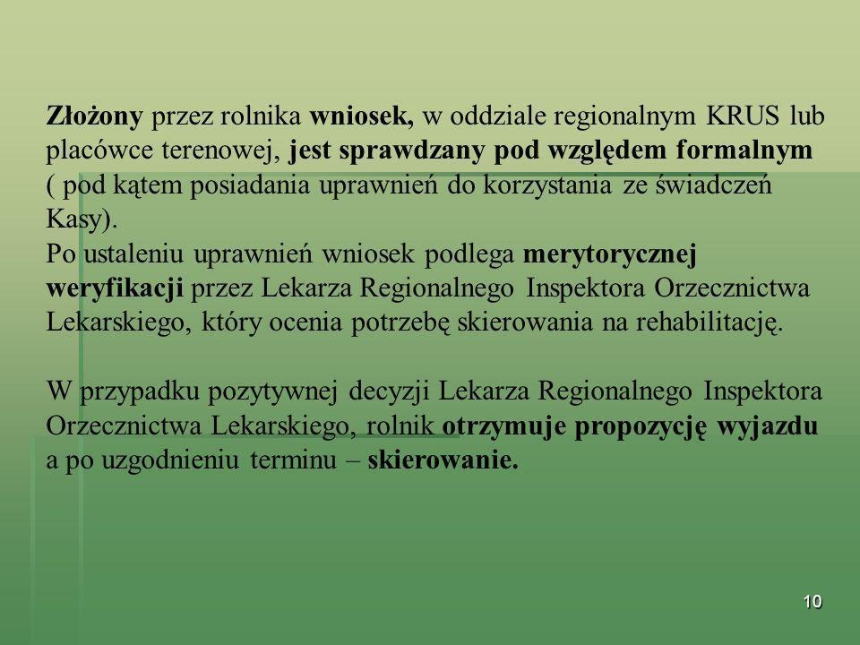 10 Złożony przez rolnika wniosek, w oddziale regionalnym KRUS lub placówce terenowej, jest sprawdzany pod względem formalnym ( pod kątem posiadania up