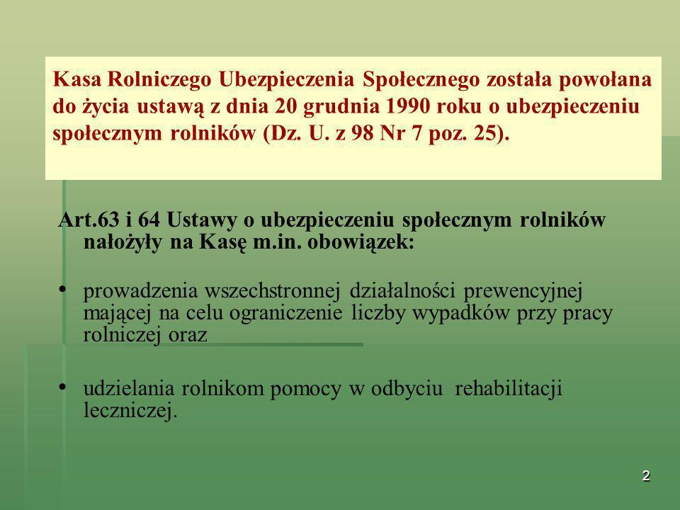 2 Kasa Rolniczego Ubezpieczenia Społecznego została powołana do życia ustawą z dnia 20 grudnia 1990 roku o ubezpieczeniu społecznym rolników (Dz. U. z