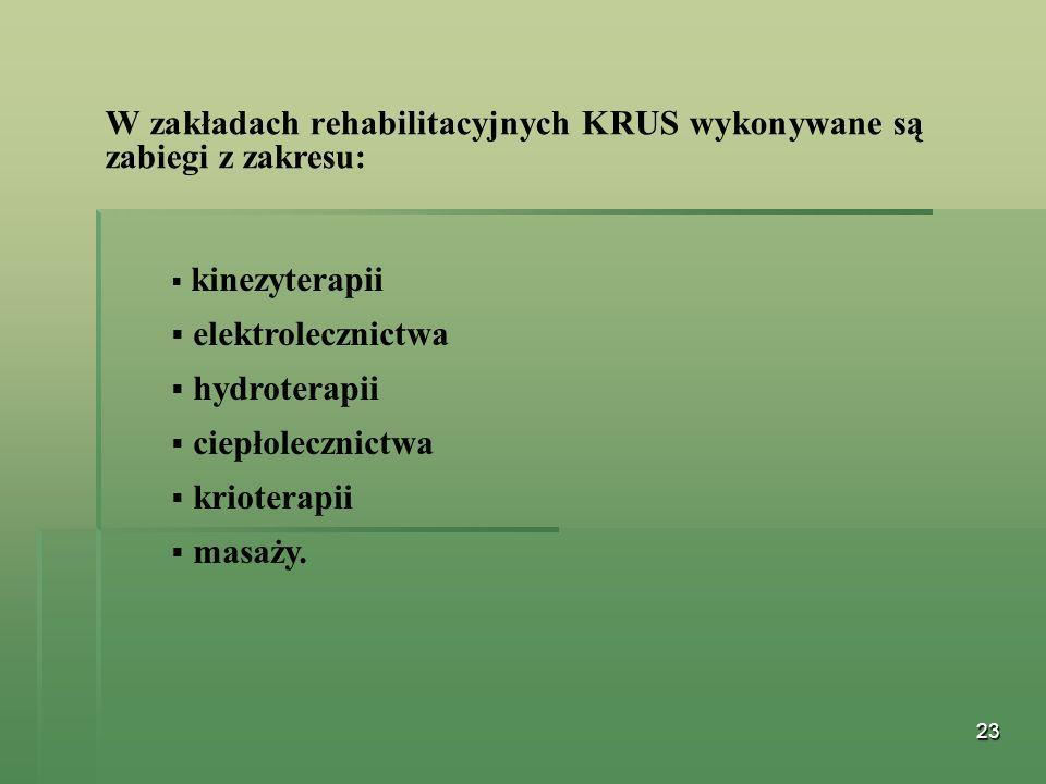 23 W zakładach rehabilitacyjnych KRUS wykonywane są zabiegi z zakresu: kinezyterapii elektrolecznictwa hydroterapii ciepłolecznictwa krioterapii masaż