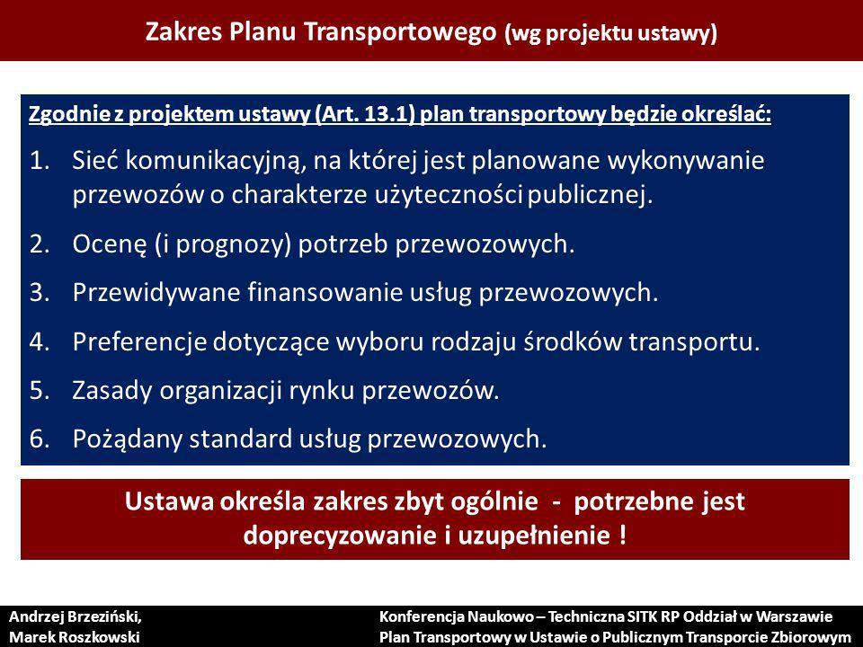 Proces tworzenia Planu Transportowego (w ocenie ekspertów) Andrzej Brzeziński, Marek Roszkowski Konferencja Naukowo – Techniczna SITK RP Oddział w Warszawie Plan Transportowy w Ustawie o Publicznym Transporcie Zbiorowym 1.Praktycznie nie ma opracowań dot.
