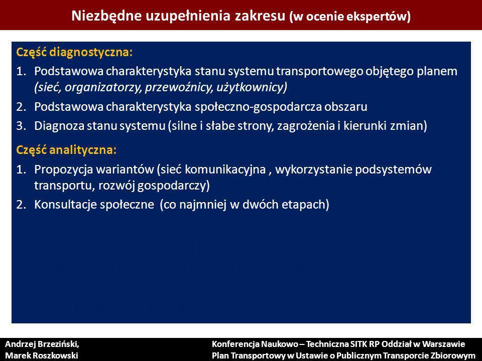 Niezbędne uzupełnienia zakresu (w ocenie ekspertów) Część diagnostyczna: 1.Podstawowa charakterystyka stanu systemu transportowego objętego planem (sieć, organizatorzy, przewoźnicy, użytkownicy) 2.Podstawowa charakterystyka społeczno-gospodarcza obszaru 3.Diagnoza stanu systemu (silne i słabe strony, zagrożenia i kierunki zmian) Część analityczna: 1.Propozycja wariantów (sieć komunikacyjna, wykorzystanie podsystemów transportu, rozwój gospodarczy) 2.Konsultacje społeczne (co najmniej w dwóch etapach) Część wynikowa: 1.Zakres modernizacji i rozwoju infrastruktury + priorytety 2.Finansowanie modernizacji i rozwoju infrastruktury 3.Oczekiwane rezultaty 4.Zasady monitorowania realizacji Andrzej Brzeziński, Marek Roszkowski Konferencja Naukowo – Techniczna SITK RP Oddział w Warszawie Plan Transportowy w Ustawie o Publicznym Transporcie Zbiorowym