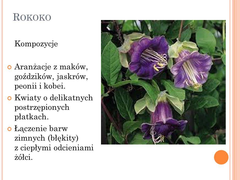 R OKOKO Kompozycje Aranżacje z maków, goździków, jaskrów, peonii i kobei. Kwiaty o delikatnych postrzępionych płatkach. Łączenie barw zimnych (błękity
