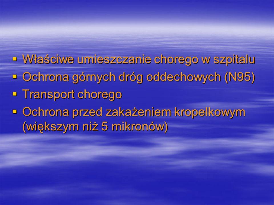 Właściwe umieszczanie chorego w szpitalu Właściwe umieszczanie chorego w szpitalu Ochrona górnych dróg oddechowych (N95) Ochrona górnych dróg oddechow