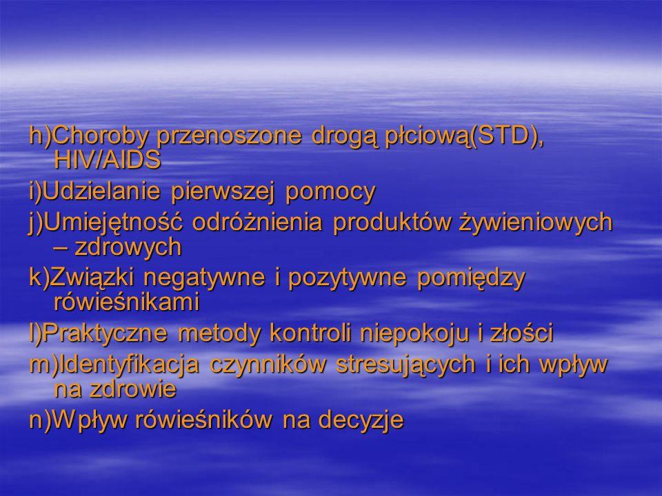 h)Choroby przenoszone drogą płciową(STD), HIV/AIDS i)Udzielanie pierwszej pomocy j)Umiejętność odróżnienia produktów żywieniowych – zdrowych k)Związki