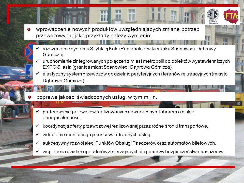 20 ROZWÓJ OFERTY PRZEWOZOWEJ Działania w tym zakresie obejmują: modernizację i rozbudowę infrastruktury transportu zbiorowego stwarzającą warunki do u