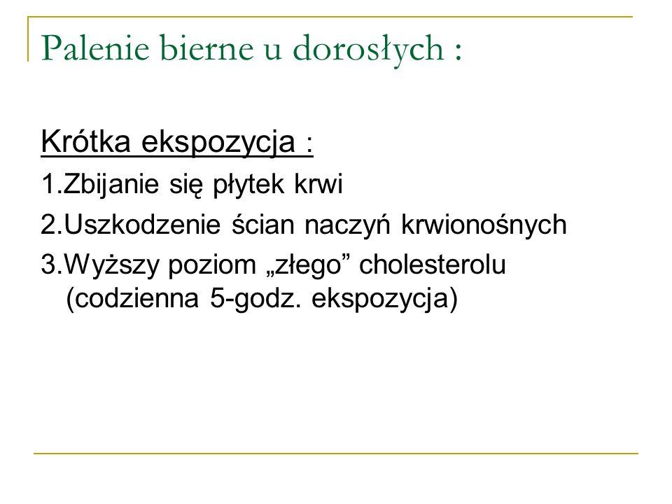 Palenie bierne u dorosłych : Krótka ekspozycja : 1.Zbijanie się płytek krwi 2.Uszkodzenie ścian naczyń krwionośnych 3.Wyższy poziom złego cholesterolu