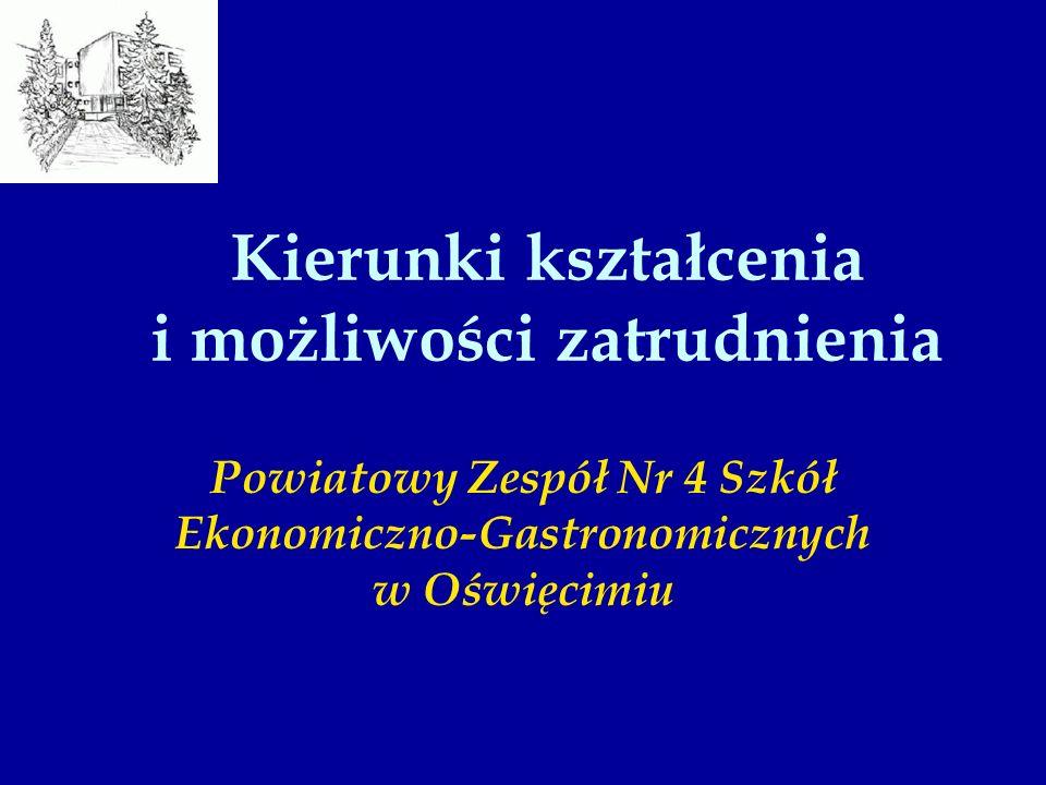 Kierunki kształcenia i możliwości zatrudnienia Powiatowy Zespół Nr 4 Szkół Ekonomiczno-Gastronomicznych w Oświęcimiu
