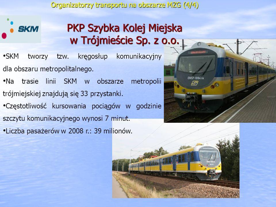 Organizatorzy transportu na obszarze MZG (4/4) PKP Szybka Kolej Miejska w Trójmieście Sp. z o.o. SKM tworzy tzw. kręgosłup komunikacyjny dla obszaru m