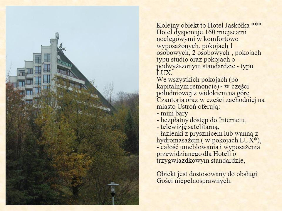 Kolejny obiekt to Hotel Jaskółka *** Hotel dysponuje 160 miejscami noclegowymi w komfortowo wyposażonych.
