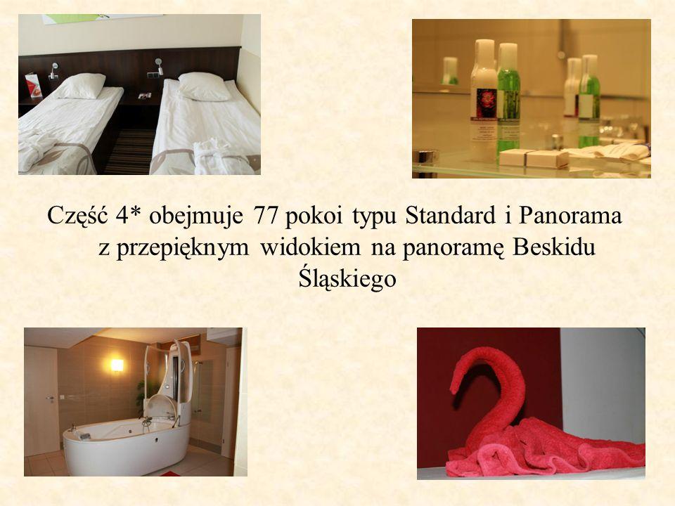 Część 4* obejmuje 77 pokoi typu Standard i Panorama z przepięknym widokiem na panoramę Beskidu Śląskiego