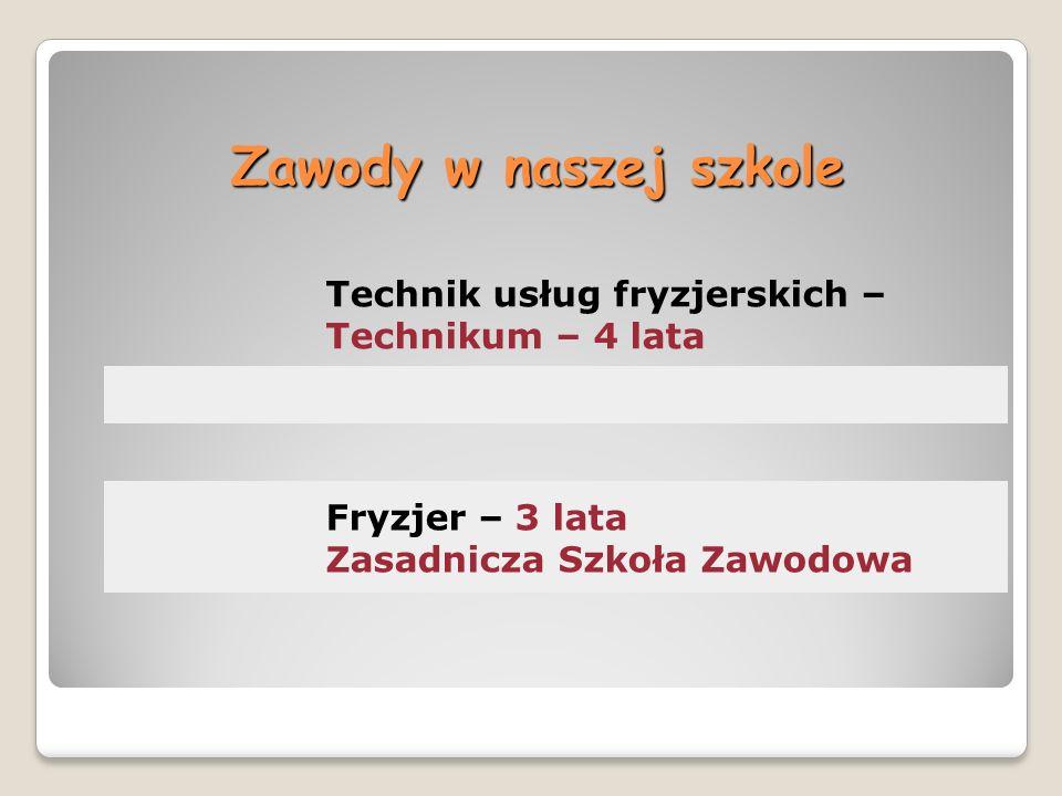 Zawody w naszej szkole Technik usług fryzjerskich – Technikum – 4 lata Fryzjer – 3 lata Zasadnicza Szkoła Zawodowa