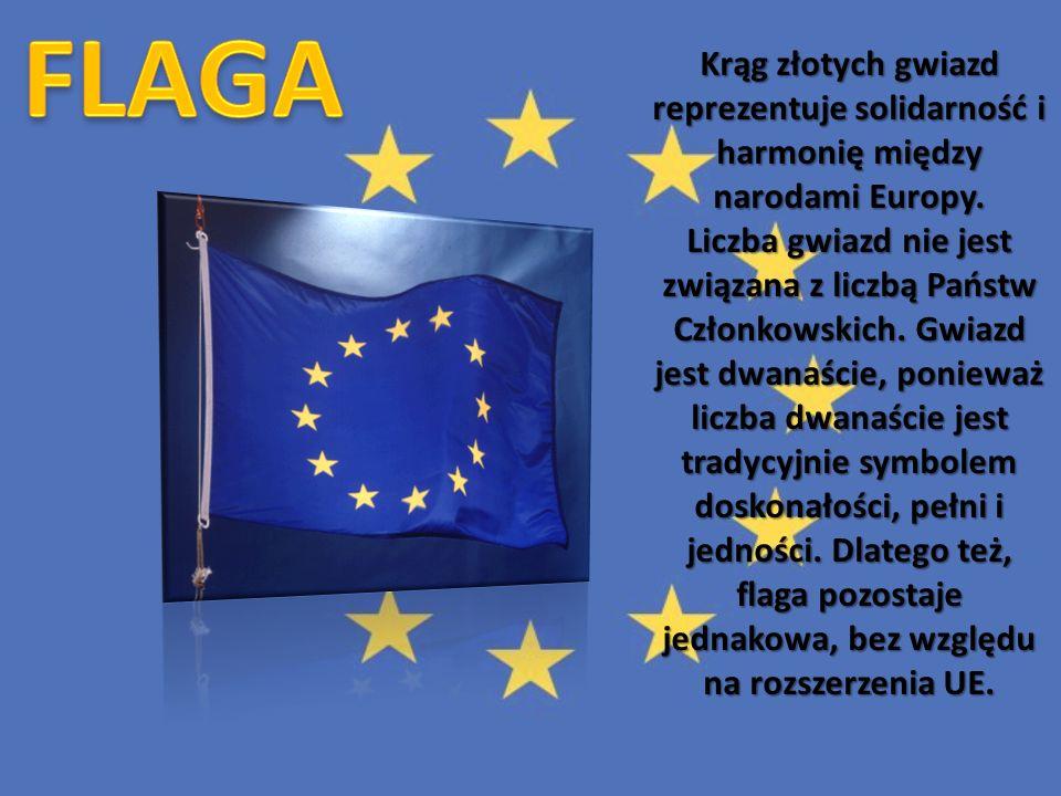 Krąg złotych gwiazd reprezentuje solidarność i harmonię między narodami Europy. Liczba gwiazd nie jest związana z liczbą Państw Członkowskich. Gwiazd