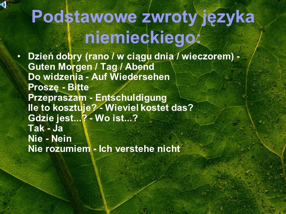 Podstawowe zwroty języka niemieckiego: Dzień dobry (rano / w ciągu dnia / wieczorem) - Guten Morgen / Tag / Abend Do widzenia - Auf Wiedersehen Proszę