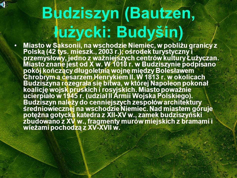 Budziszyn (Bautzen, łużycki: Budyšin) Miasto w Saksonii, na wschodzie Niemiec, w pobliżu granicy z Polską (42 tys. mieszk., 2003 r.); ośrodek turystyc